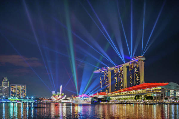Laser Photograph - Marina Bay Light Show by Coolbiere Photograph