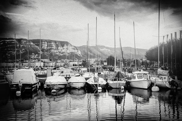 Wall Art - Photograph - Marina Geneva Switzerland Black And White by Carol Japp