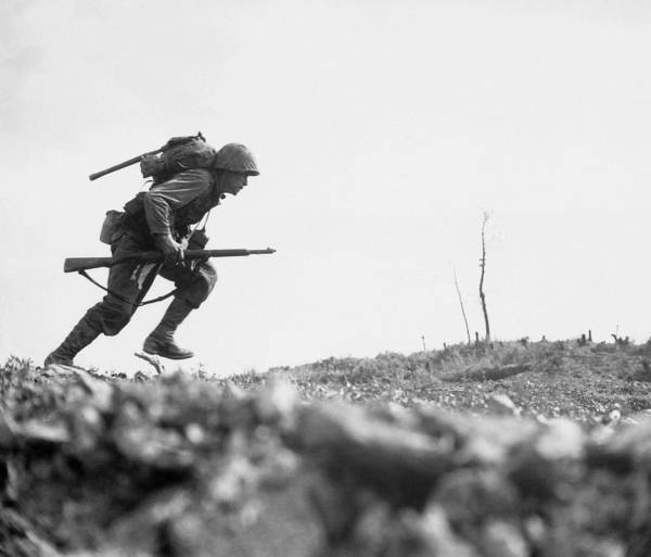 Military Photograph - Marine Dash On Okinawa by War Is Hell Store