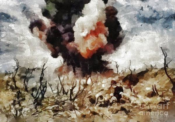 Wall Art - Painting - Marine Demolition, Wwii by Mary Bassett