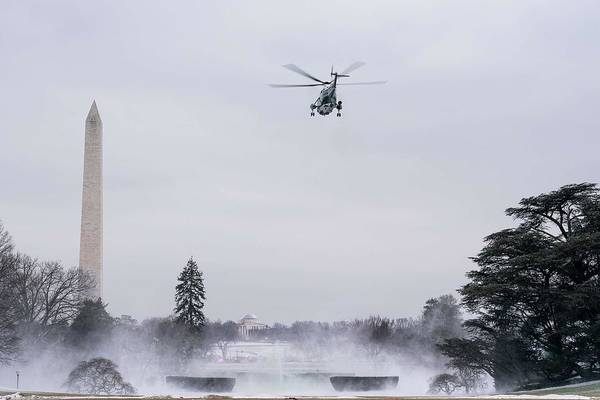Wall Art - Painting - Marine One  Carrying President Donald J  Trump  First Lady Melania Trump And Their Son Barron Trump  by Celestial Images