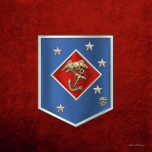 Digital Art - Marine Raider Regiment - Marine Special Operations Regiment  M S O R  Patch Over Red Velvet by Serge Averbukh