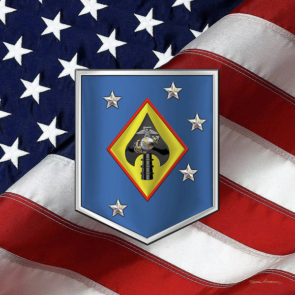Digital Art - Marine Raider Support Group -  M R S G  Patch Over American Flag by Serge Averbukh
