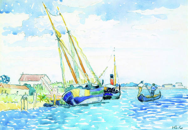Wall Art - Painting - Marine Scene, Boats Near Venice - Digital Remastered Edition by Henri Edmond Cross