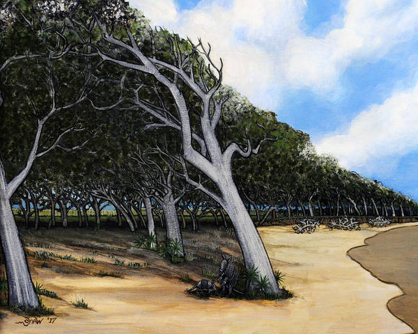 Jekyll Island Painting - Maritime Forest On Jekyll Island by Donald Shaw
