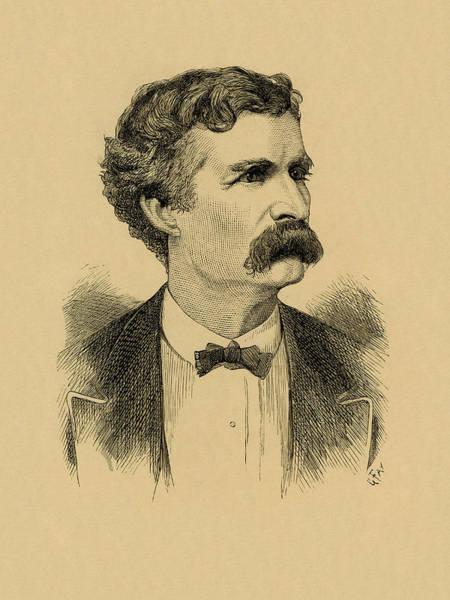 Wall Art - Drawing - Mark Twain Engraved Portrait - 1870 by War Is Hell Store