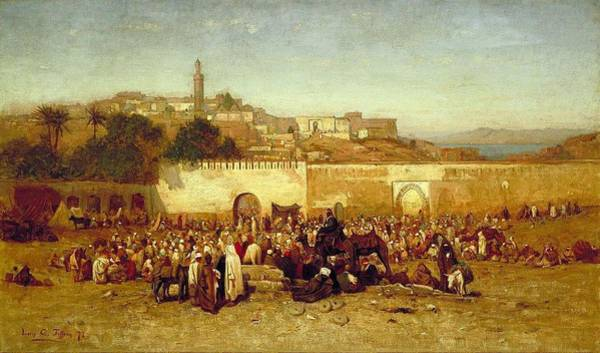 Wall Art - Painting -  Market Day Outside The Walls Of Tangiers  Moroccon   by Louis Comfort Tiffany