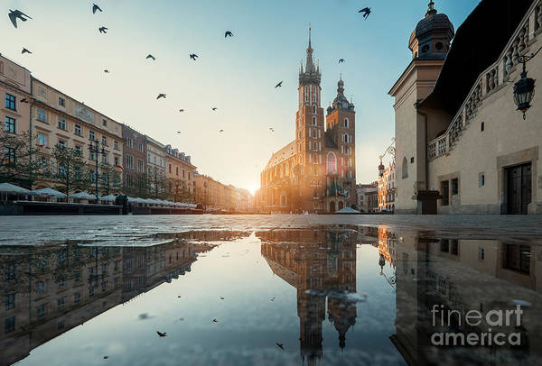 Medieval Town Photograph - Market Square And St. Marys Basilica In by Liseykina