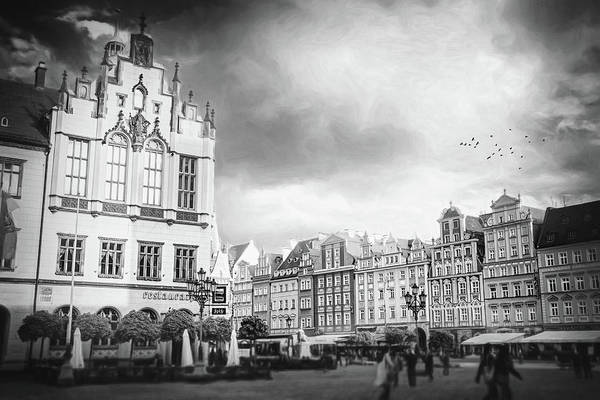 Wall Art - Photograph - Market Square Wroclaw Poland Black And White by Carol Japp