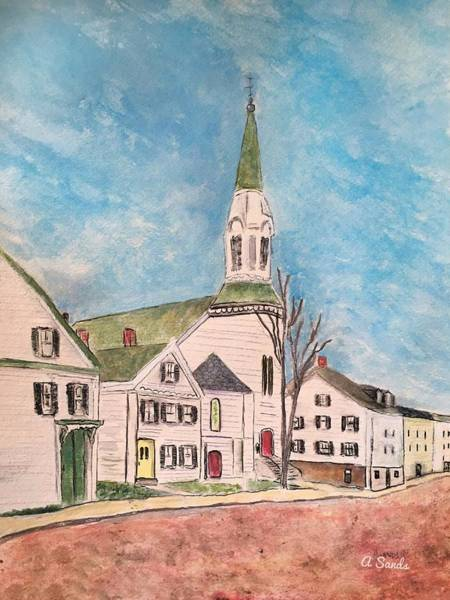 Wall Art - Painting - Market Street Baptist Church by Anne Sands
