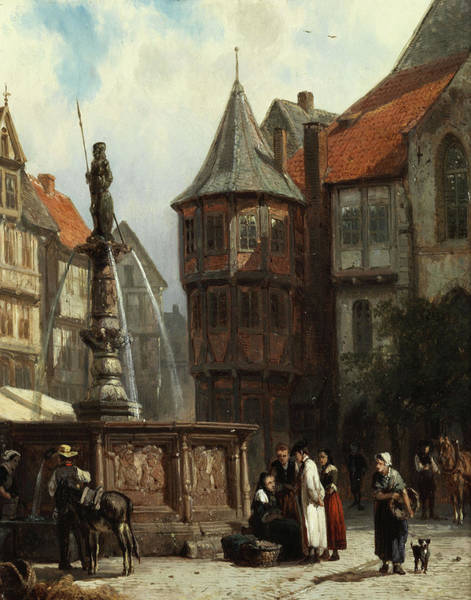 Street Scape Painting - Marketday In Front Of The Town Hall Of Hildesheim by Cornelis Springer
