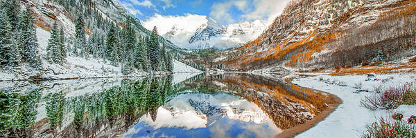 Wall Art - Photograph - Maroon Bells Autumn Mountain Landscape - Colorado Panorama by Gregory Ballos