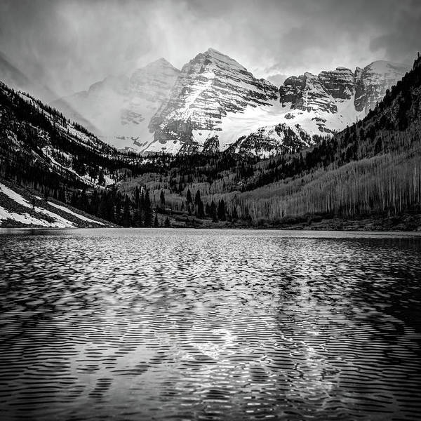 Photograph - Maroon Bells Black And White 1x1 - Elk Mountain Colorado Landscape by Gregory Ballos