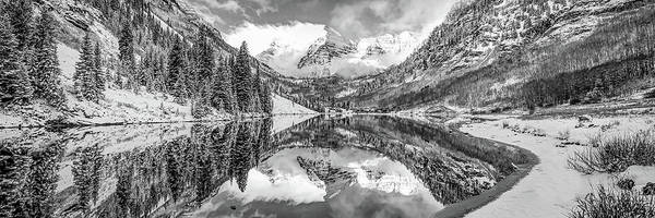Wall Art - Photograph - Maroon Bells Bw Monochrome Mountain Landscape - Colorado Panorama by Gregory Ballos