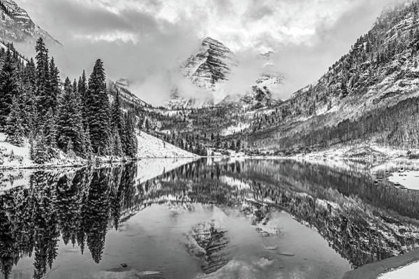 Photograph - Maroon Bells Bw Mountain Reflections - Aspen Colorado by Gregory Ballos