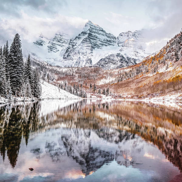 Photograph - Maroon Bells Covered In Snow - Autumn Landscape by Gregory Ballos