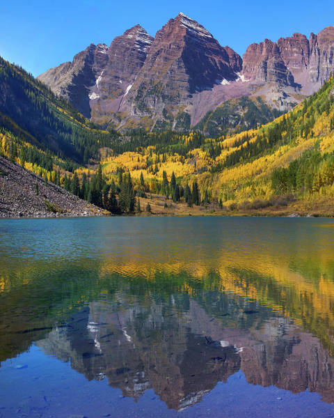 Wall Art - Photograph - Maroon Bells, Maroon Lake, Colorado by Tim Fitzharris