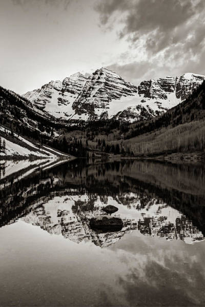 Photograph - Maroon Bells Monochrome Sepia Reflections by Gregory Ballos
