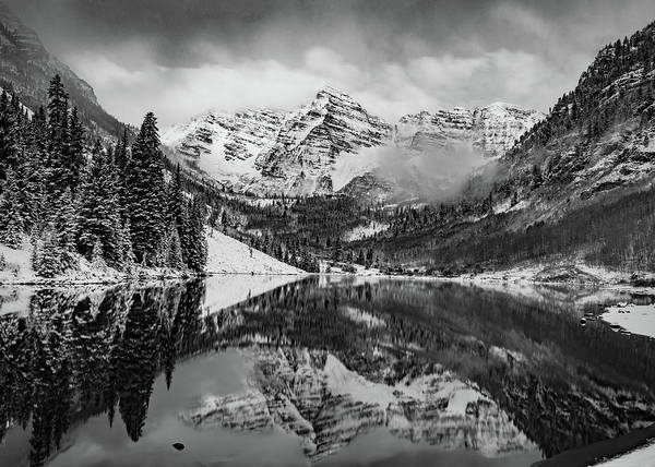 Photograph - Maroon Bells Mountain Art - Aspen Colorado Monochrome Landscape by Gregory Ballos