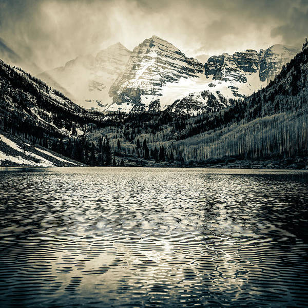 Photograph - Maroon Bells Mountain Landscape - Aspen Colorado Sepia by Gregory Ballos