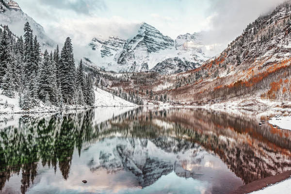 Photograph - Maroon Bells Mountain Landscape From Autumn To Winter by Gregory Ballos