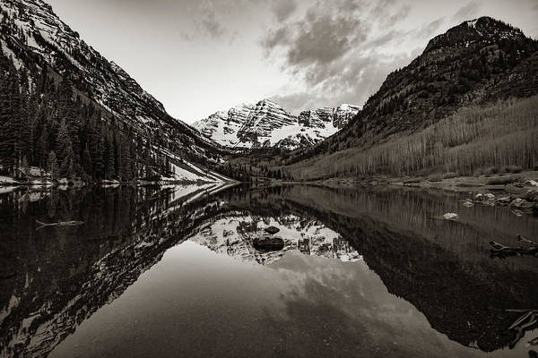 Photograph - Maroon Bells Mountain Peak Landscape - Sepia Edition by Gregory Ballos