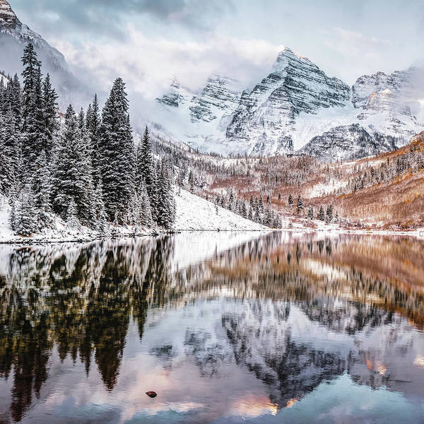 Photograph - Maroon Bells Mountain Peaks During An Autumn Snow - Colorado by Gregory Ballos