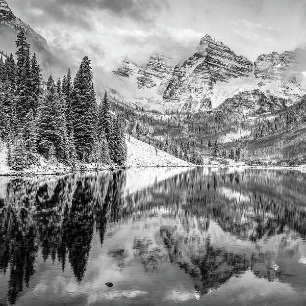 Photograph - Maroon Bells Mountain Peaks In Black And White - Colorado by Gregory Ballos
