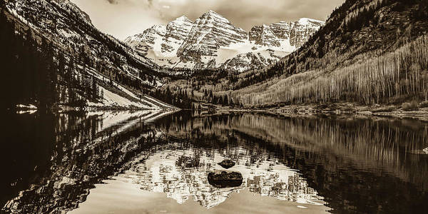 Wall Art - Photograph - Maroon Bells Mountain Peaks Sepia Landscape - Aspen Colorado by Gregory Ballos