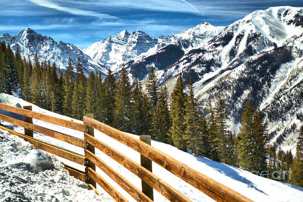 Photograph - Maroon Bells Over The Snow Fence by Adam Jewell