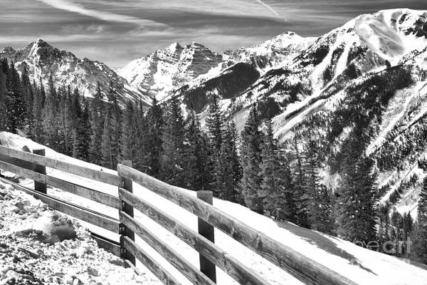 Photograph - Maroon Bells Over The Snow Fence Black And White by Adam Jewell