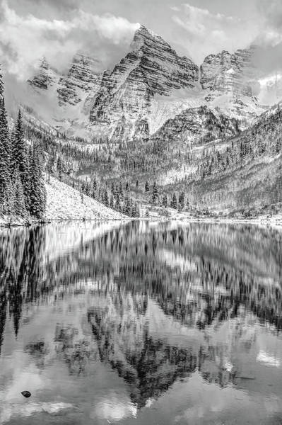 Photograph - Maroon Bells Peak To Peak Monochrome - Aspen Colorado by Gregory Ballos