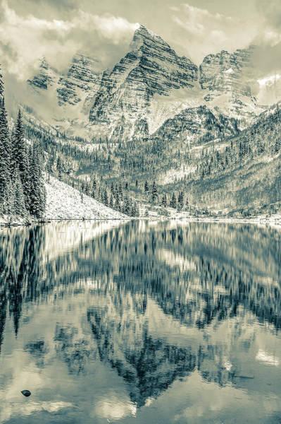 Photograph - Maroon Bells Peak To Peak Sepia - Aspen Colorado by Gregory Ballos