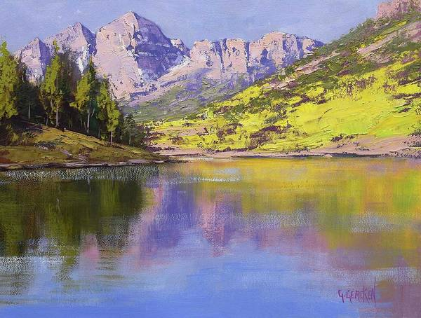 Bells Painting - Maroon Bells Reflections by Graham Gercken