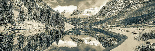 Wall Art - Photograph - Maroon Bells Sepia Mountain Landscape - Colorado Panorama by Gregory Ballos
