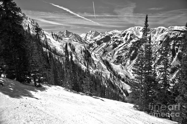 Photograph - Maroon Bells View From The Slopes Black And White by Adam Jewell