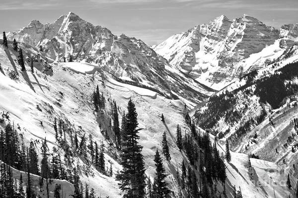 Photograph - Maroon Bells Winter Paradise Black And White by Adam Jewell