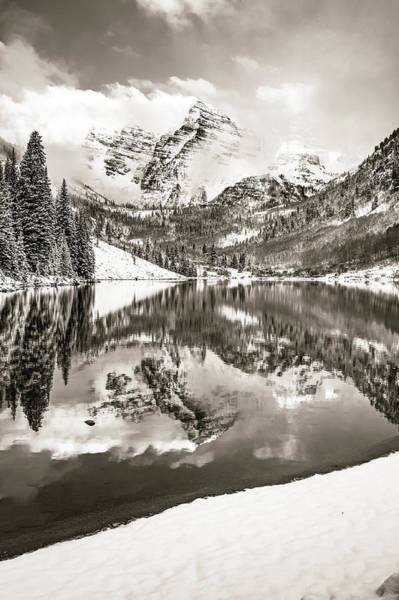 Photograph - Maroon Bells Winter Peaks In Sepia by Gregory Ballos