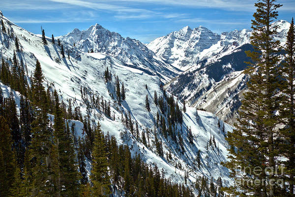 Photograph - Maroon Bells Winter Scene by Adam Jewell