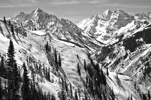 Photograph - Maroon Bells Winter Wonderland Black And White by Adam Jewell