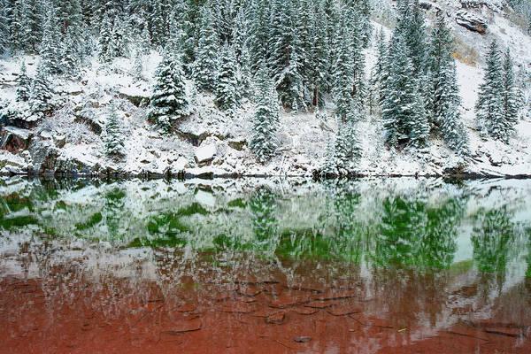Photograph - Maroon Lake Winter Reflections - Aspen Colorado by Gregory Ballos