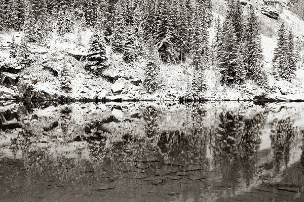 Photograph - Maroon Lake Winter Reflections - Aspen Colorado Sepia by Gregory Ballos