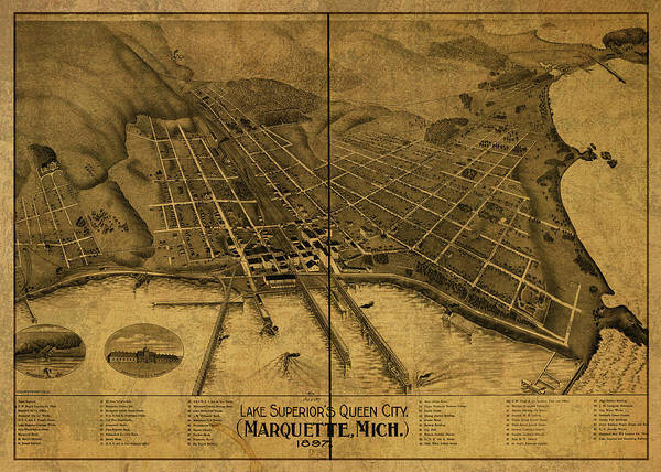 Wall Art - Mixed Media - Marquette Michigan Vintage City Street Map 1897 by Design Turnpike