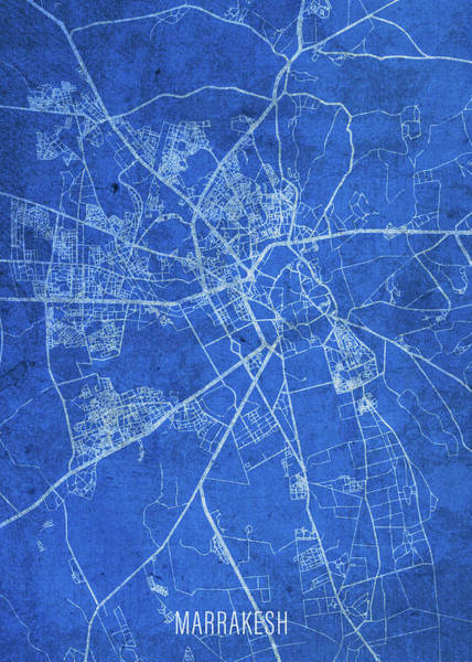 Wall Art - Mixed Media - Marrakesh Morocco City Street Map Blueprints by Design Turnpike