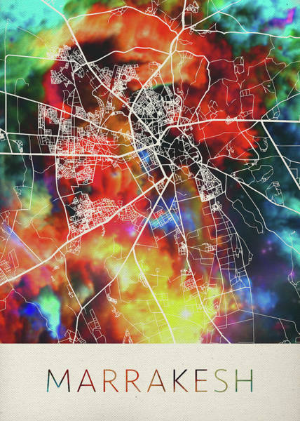 Morocco Wall Art - Mixed Media - Marrakesh Morocco Watercolor City Street Map by Design Turnpike