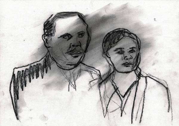 Drawing - Married Couple Portrait by Artist Dot