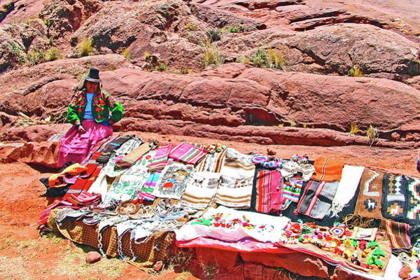 Wall Art - Photograph - Married Woman With Items For Sale In Acora, Peru by Ruth Hager