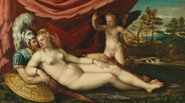 Painting - Mars And Venus With Cupid by Battista Angolo del Moro