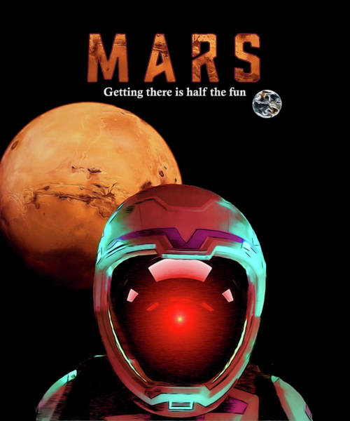 Wall Art - Digital Art - Mars Travel Poster by John Haldane