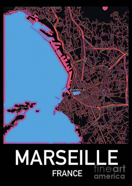 Digital Art - Marseille City Map by Helge